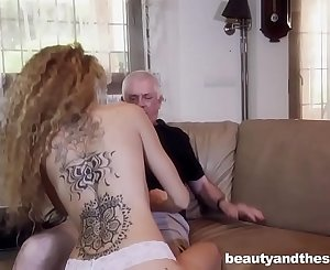 Youthful maid fucks her old house possessor before wife gets home