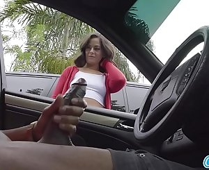 Dick Flash! Cute Teen Gives Me Hj in Public Parking Lot after She Sees My Big Black Cock